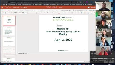 Thumbnail for entry Web Accessibility Policy Liaisons Meeting #51: April 3, 2020