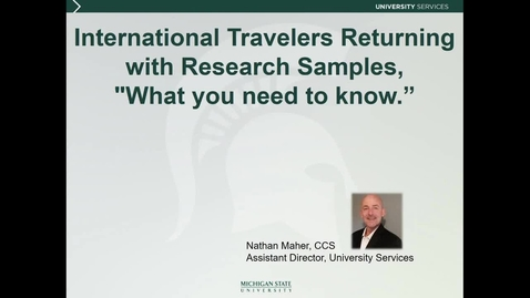 Thumbnail for entry International Research II Travelers Returning with Research Samples (N. Maher)