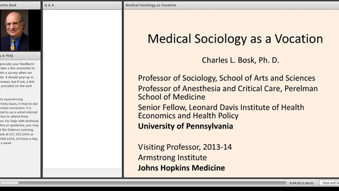 Thumbnail for entry Medical Sociology as Vocation
