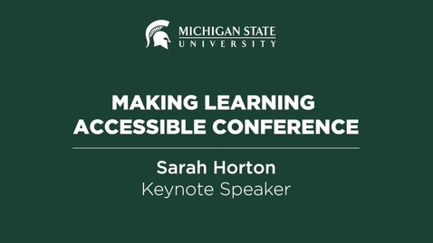 Thumbnail for entry Making Learning Accessible 2016 — Keynote Speaker Sarah Horton