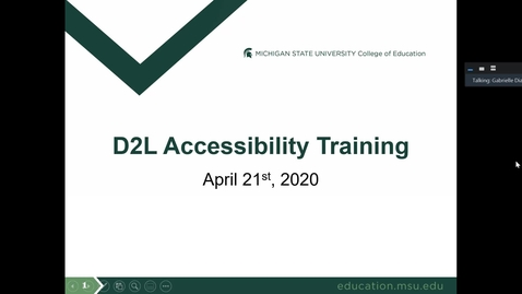 Thumbnail for entry D2L Accessibility Training - April 21, 2020
