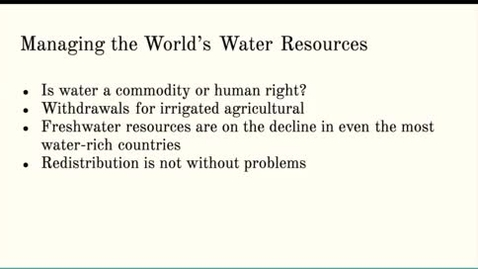 Thumbnail for entry ISS310: Managing Earth's Water Resources