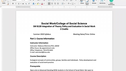 Thumbnail for entry SW 812B Syllabus Overview_2020