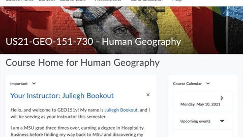 Thumbnail for entry GEO151: Your D2L course website