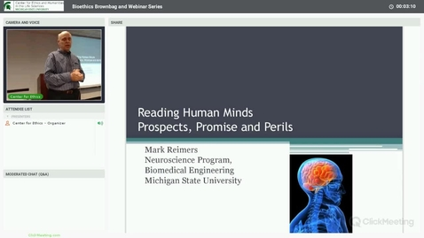 Thumbnail for entry Prospects, Promises and Perils of Human Mind-Reading