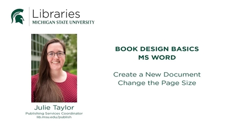 Thumbnail for entry Book Design Tips: Changing the Page Size in MS Word