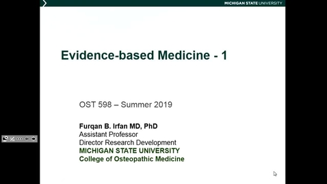 Thumbnail for entry OST598 Evidence Based Medicine 1