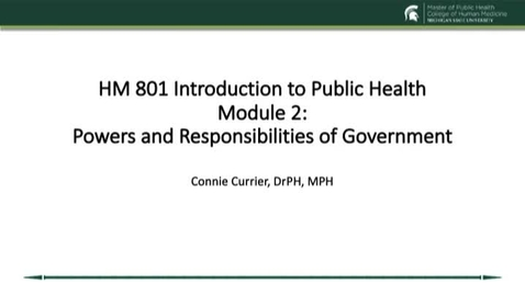Thumbnail for entry HM 801 Module 2 Powers and Responsibilities of Government