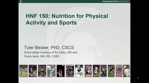 Thumbnail for entry HNF 150 - Mini lecture 6.7 - Nutrition for Physical Activity and Sports