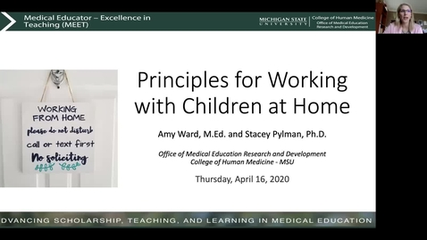 Thumbnail for entry Principles for Working with Children at Home (Stacey Pylman & Amy Ward)