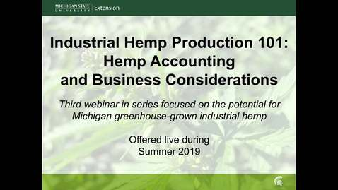 Thumbnail for entry Hemp Accounting and Business Considerations
