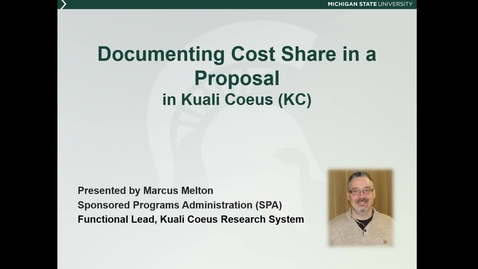 Thumbnail for entry Documenting Cost Share in a Proposal in Kuali Coeus