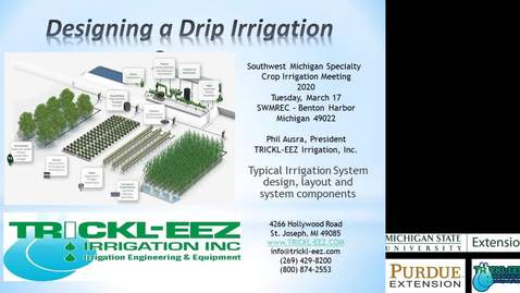 Thumbnail for entry Specialty Crop Irrigation - Trickle Irrigation Presentation - Phil Ausra of Trickl-eez Irrigation