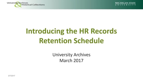 Thumbnail for entry Introducing the HR Retention Schedule