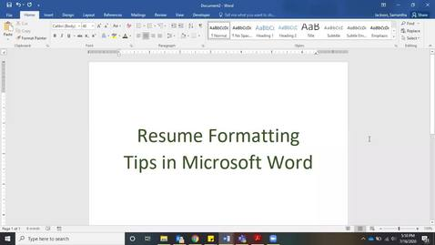 Thumbnail for entry Resume Formatting Tips in Microsoft Word