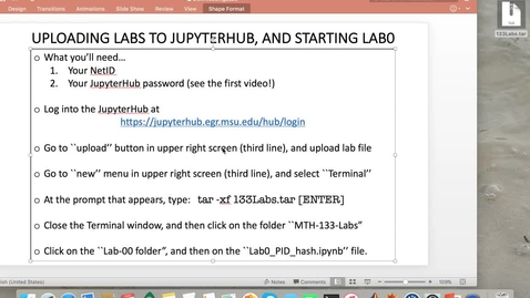 Thumbnail for entry MTH 133 for EGR Students: Lab0- Starting Lab0 on the JupyterHub