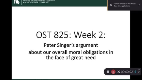 Thumbnail for entry OST 825: Week 2: Singer's argument