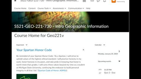 Thumbnail for entry Geo221: How to view your grade and Instructor's feedback in Assessments programmed as D2L Quizzes