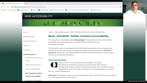 Thumbnail for entry IT Virtual Workshop - Accessibility Checklist (07.20.2021)