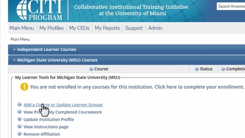 Thumbnail for entry CITI Programs training - Registration for Responsible Conduct of Research group