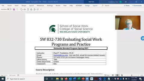 Thumbnail for entry SW832 - Spring 2021 - Syllabus Review