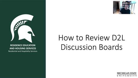 Thumbnail for entry Reviewing D2L Discussion Boards