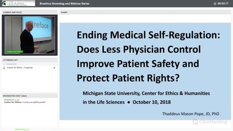 Thumbnail for entry Ending Medical Self-Regulation: Does Less Physician Control Improve Patient Safety and Protect Patient Rights?