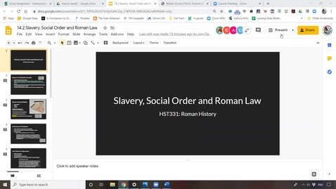 Thumbnail for entry Lecture 14.2 Slavery, Social Order & Roman Law