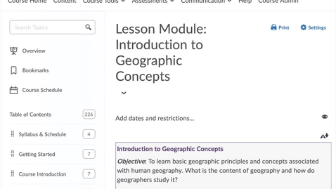 Thumbnail for entry GEO151: Accessing your reflection journal assignment in D2L