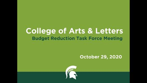 Thumbnail for entry CAL Budget Reduction Task Force Meeting (October 29, 2020)