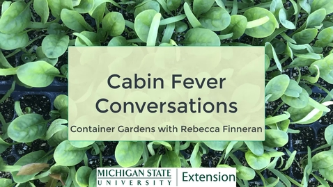 Thumbnail for entry Cabin Fever Conversations - Container Gardening
