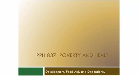 Thumbnail for entry Development, Food Aid, and Dependency