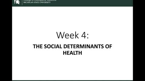Thumbnail for entry OST 825: Gifford: Week 4: Social Determinants of Health: Intro