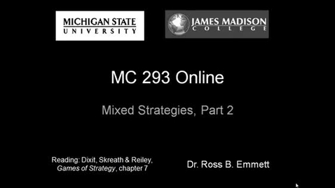 Thumbnail for entry Mixed Strategies, Lecture 2