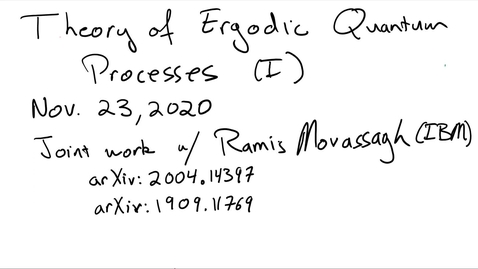 Thumbnail for entry Theory of Ergodic Quantum Processes (Part I)