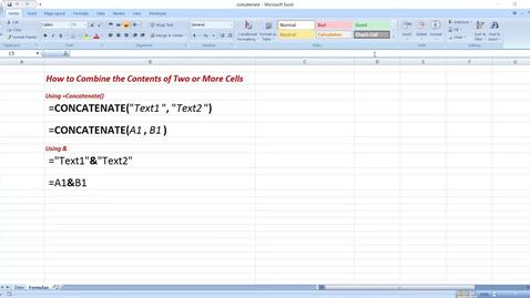 Thumbnail for entry Combining the Contents of Two Cells in MS Excel