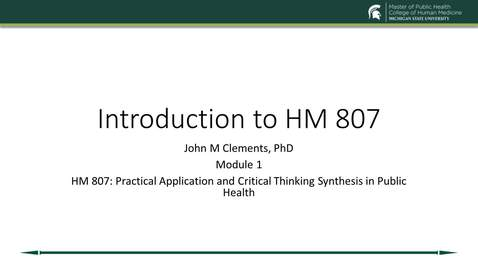 Thumbnail for entry HM 807 Module 1