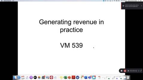 Thumbnail for entry VM 539-Generating revenue in practice