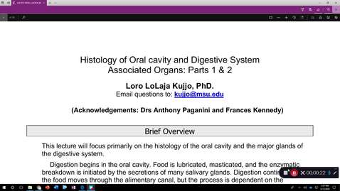 Thumbnail for entry OST575 (004) GI Histology: Oral Cavity and Digestive System Associated Organs Part 2