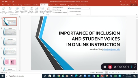 Thumbnail for entry Importance of Inclusion and Student Voices in Online Instruction