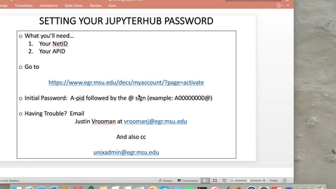 Thumbnail for entry MTH 133 for EGR Students:  Lab0- Set Your JupyterHub Password