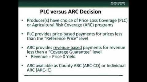 Thumbnail for entry (3) 2018 Farm Bill: PLC vs ARC Decision