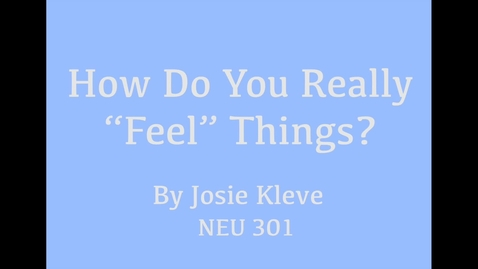 "Thumbnail for entry How Do You Really ""Feel"" Things?"