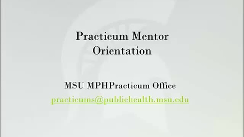 Thumbnail for entry Practicum Mentor Orientation