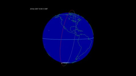 Thumbnail for entry Landsat 7 Satellite Traveling Along its Orbital Path (Polar J-track)