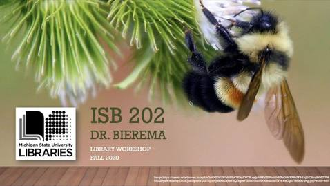 Thumbnail for entry ISB 202 - Fall 2020 Library Presentation