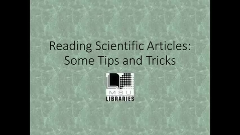 Thumbnail for entry Reading Scientific Articles