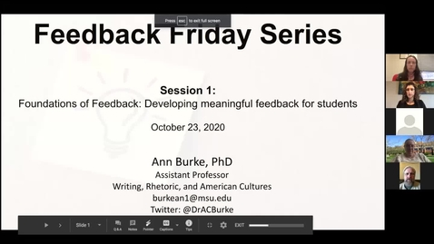 Thumbnail for entry Friday Feedback Sessions 10.23