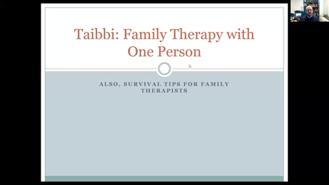 Thumbnail for entry Family/Couple Therapy with one person and Survival Skills