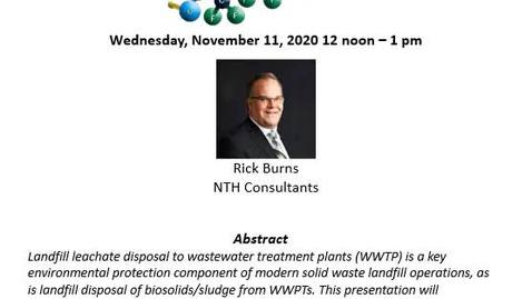Thumbnail for entry Statewide Landfill PFAS impacts on Wastewater Treatment Plant Influent and Associated Biosolids Management Challenges